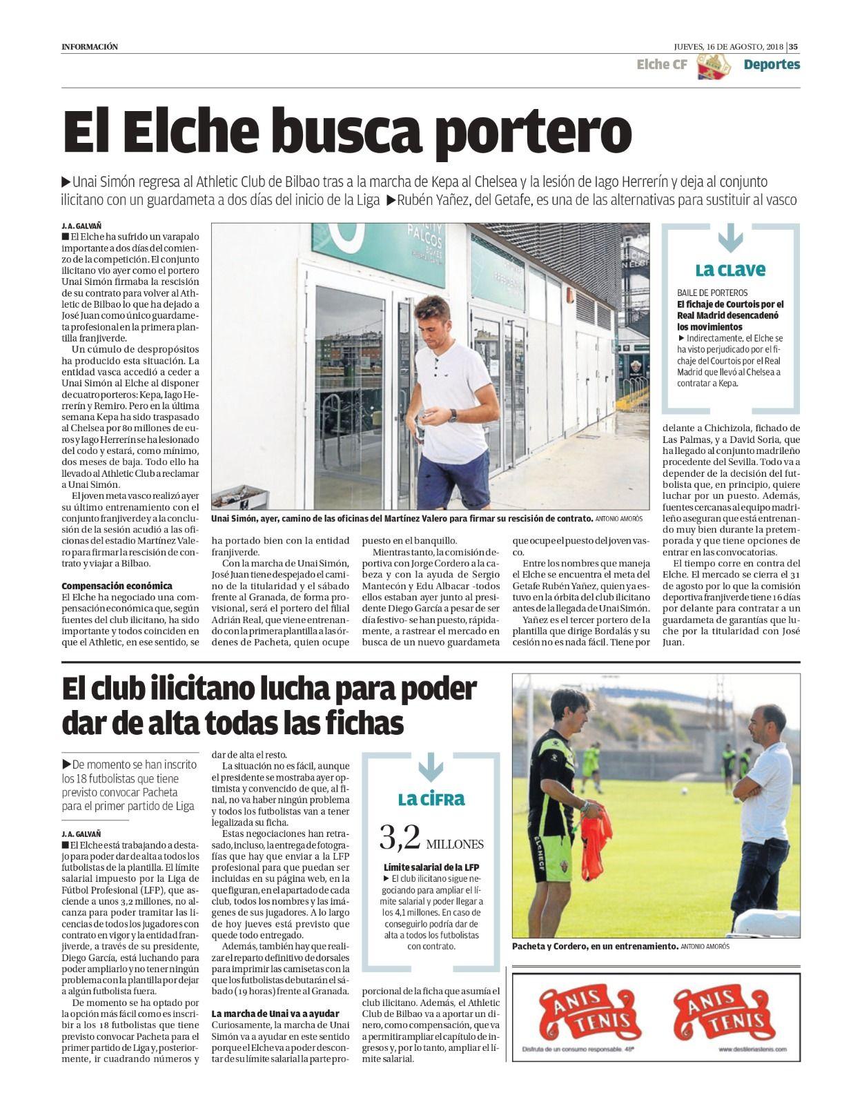 Los 19 días de Unai Simón como jugador del Elche CF