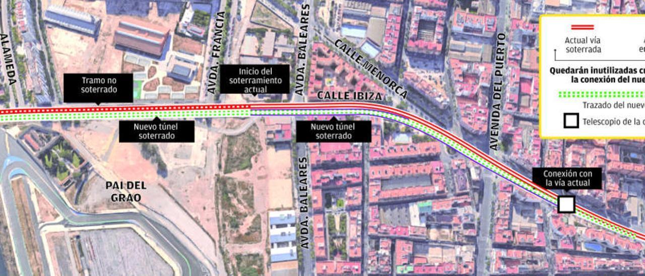 Prolongación del túnel de Serrería «Línea ferroviaria Tarragona-València» el nuevo tramo soterrado desde la calle ibiza y su conexión con moreras