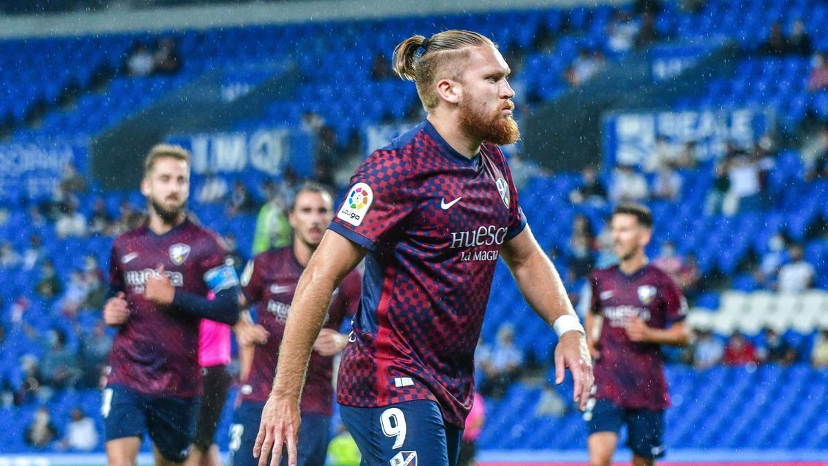 Pitta celebra su primer gol en Anoeta.