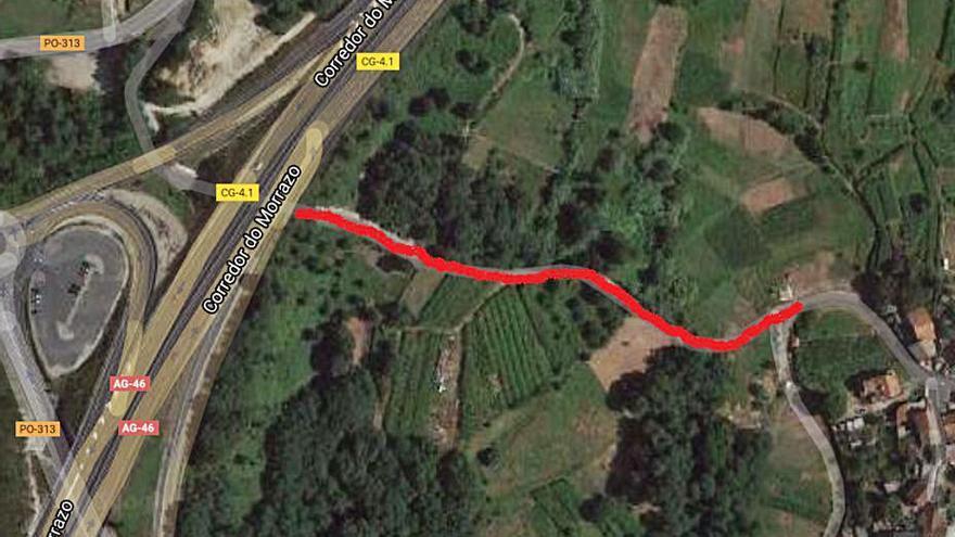 Moaña arregla el vial Paradela-Broullón para canalizar el agua procedente de la Autovía