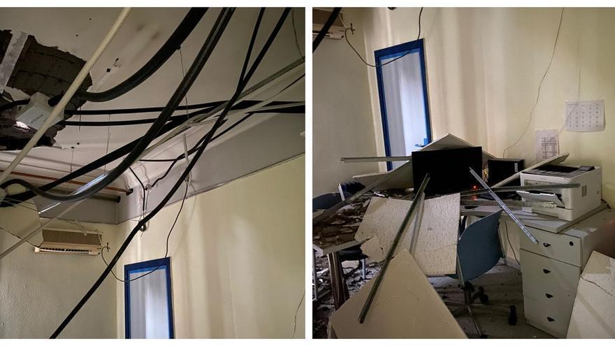 El techo de un centro de salud de Castellón se derrumba
