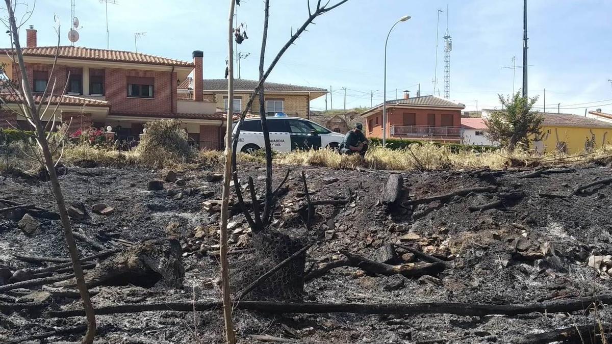 La Guardai Civil investiga la zona quemada en uno de los incendios