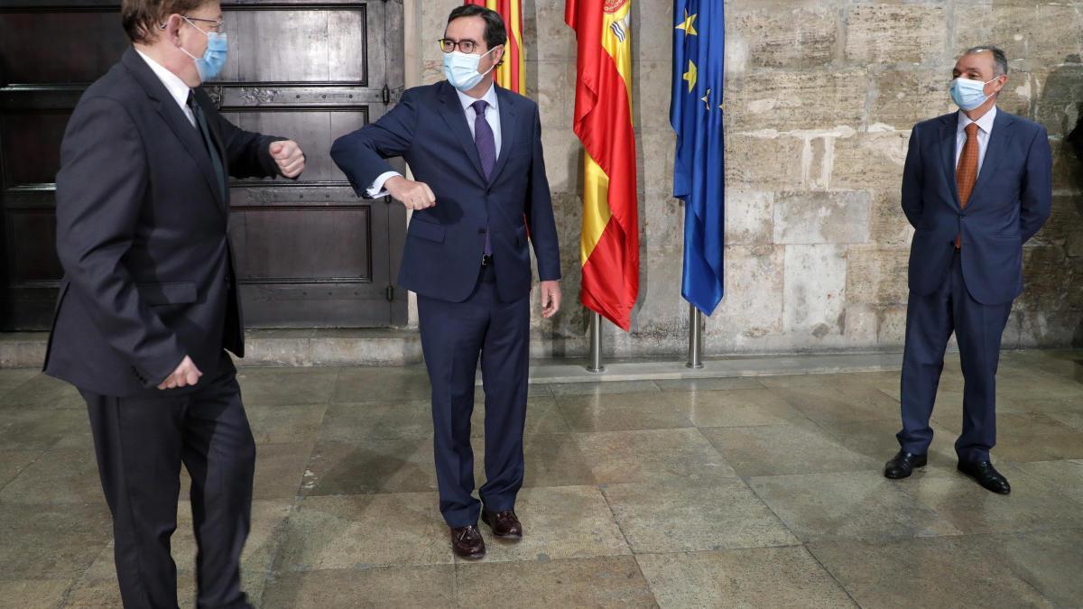 Un momento del encuentro de esta mañana en el Palau de la Generalitat
