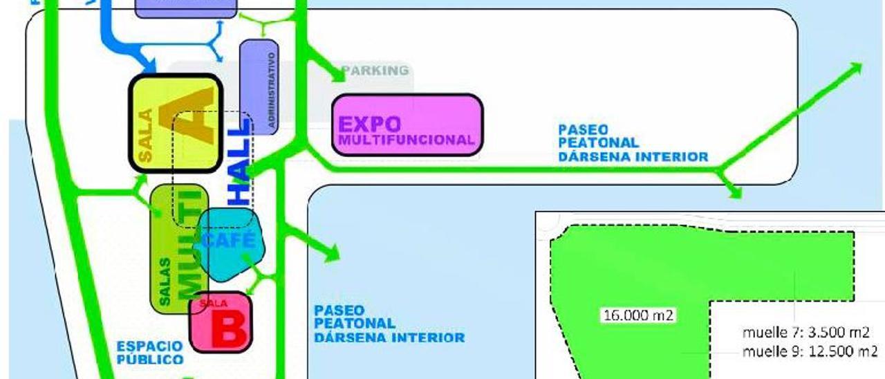 Esquema del futuro palacio de congresos del puerto de Alicante