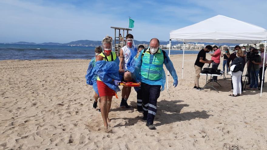 Simulacro de emergencia en Playa de Palma