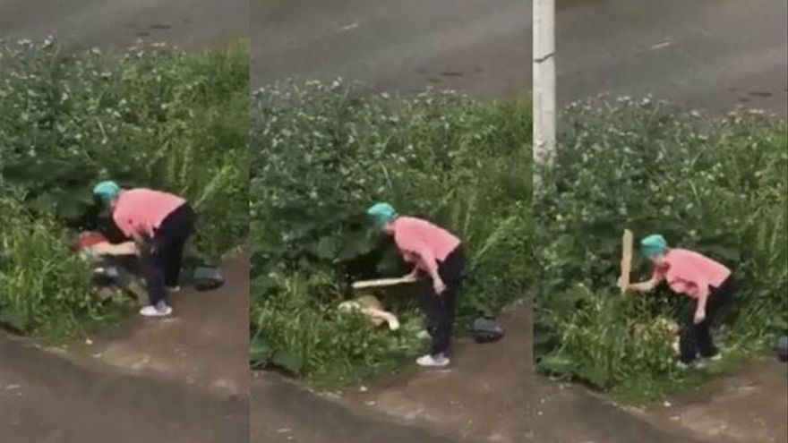 Una señora apalea a una pareja que practicaba sexo en la calle