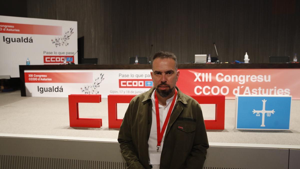 José Manuel Zapico, hoy en el Palacio de Congresos de Gijón, donde se celebra el XIII Congreso de CC OO de Asturias