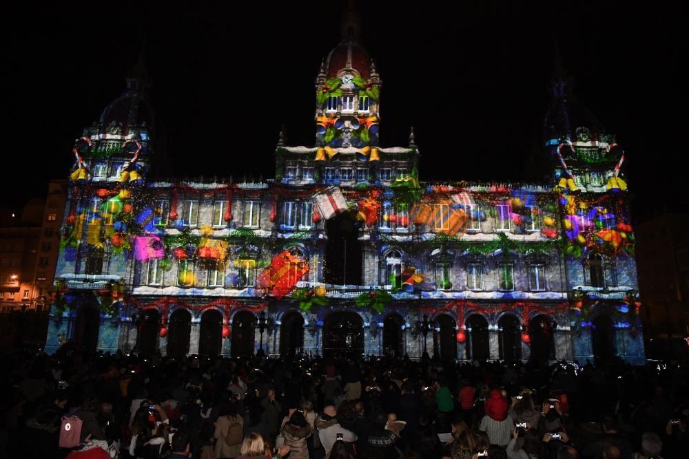 Navidad en A Coruña | Encendido del alumbrado navideño en María Pita