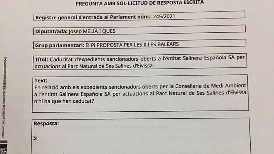 El conseller de Medio Ambiente responde con un monosílabo sobre infracciones en ses Salines