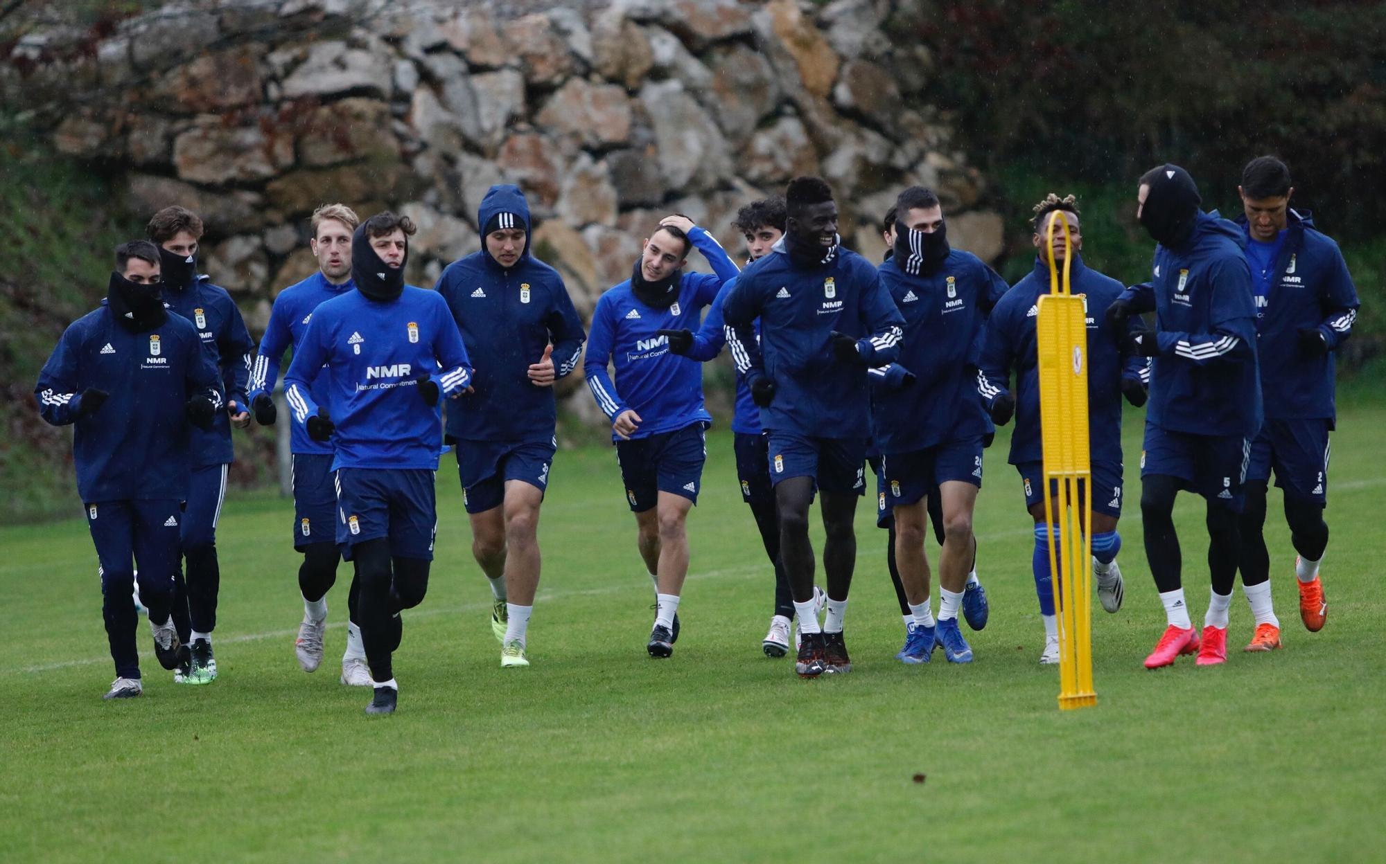 Entrenamiento del Oviedo tras empatar ante el Mallorca