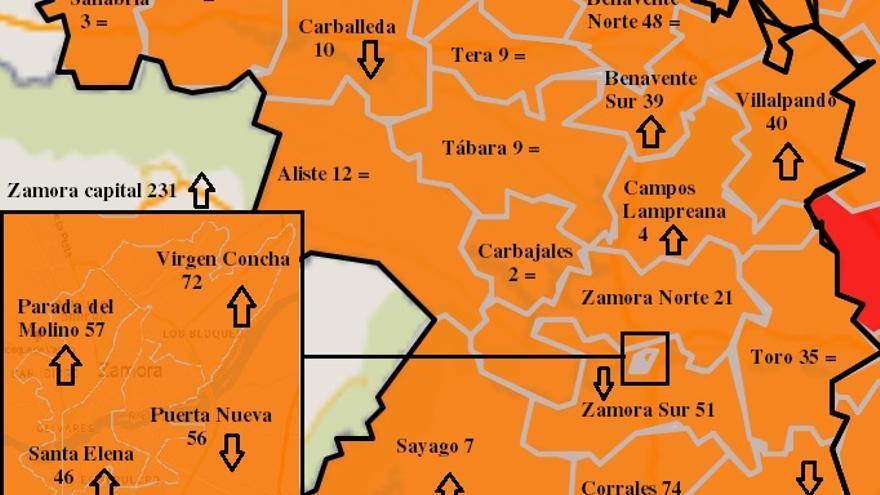 La capital lidera los contagios en el mapa COVID de Zamora