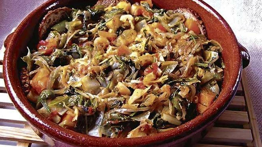 Sopes d'olivar i raoles de bleda