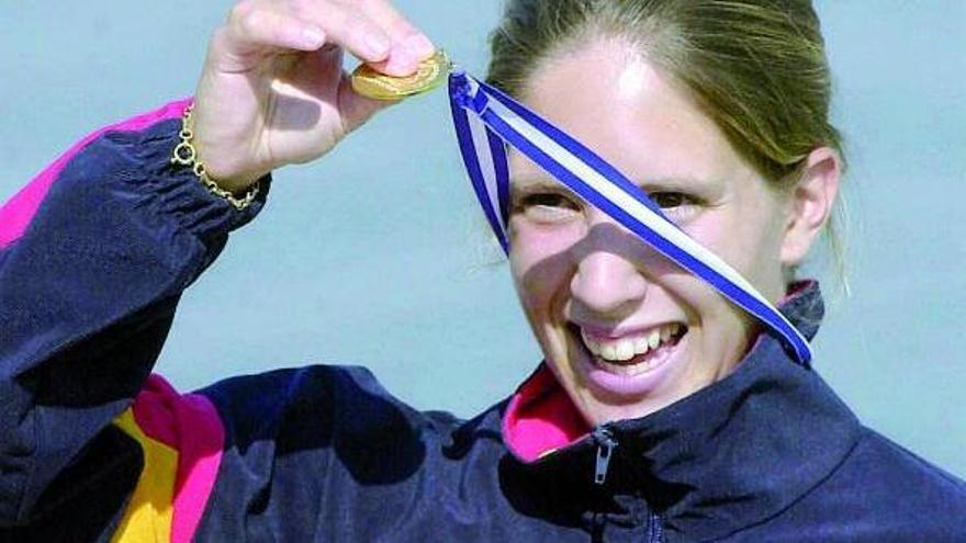 Teresa Portela en uno de sus primeros podios mundiales