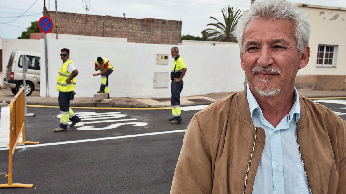 Andrés Raya, durante una visita para el seguimiento de unas obras en La Laguna.