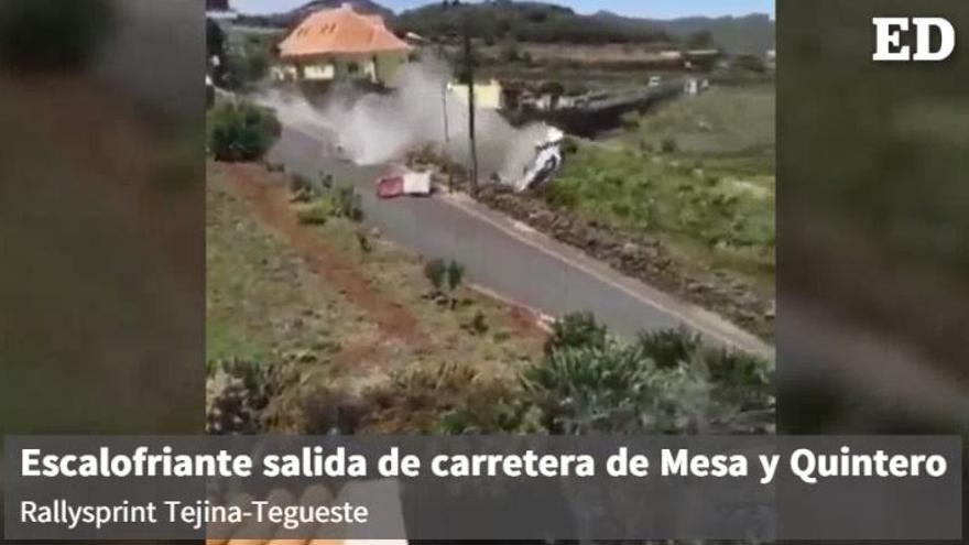 Escalofriantes imágenes de la salida de carretera de Abel Mesa y Arunzú Quintero (Mitsubishi Lancer Evo) en el Rallysprint Tejina-Tegueste.