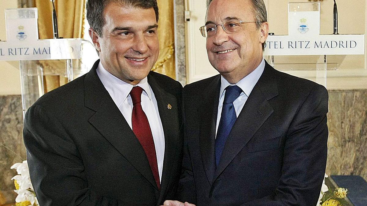 Joan Laporta y Florentino Pérez, en una imagen reciente. |  // EFE