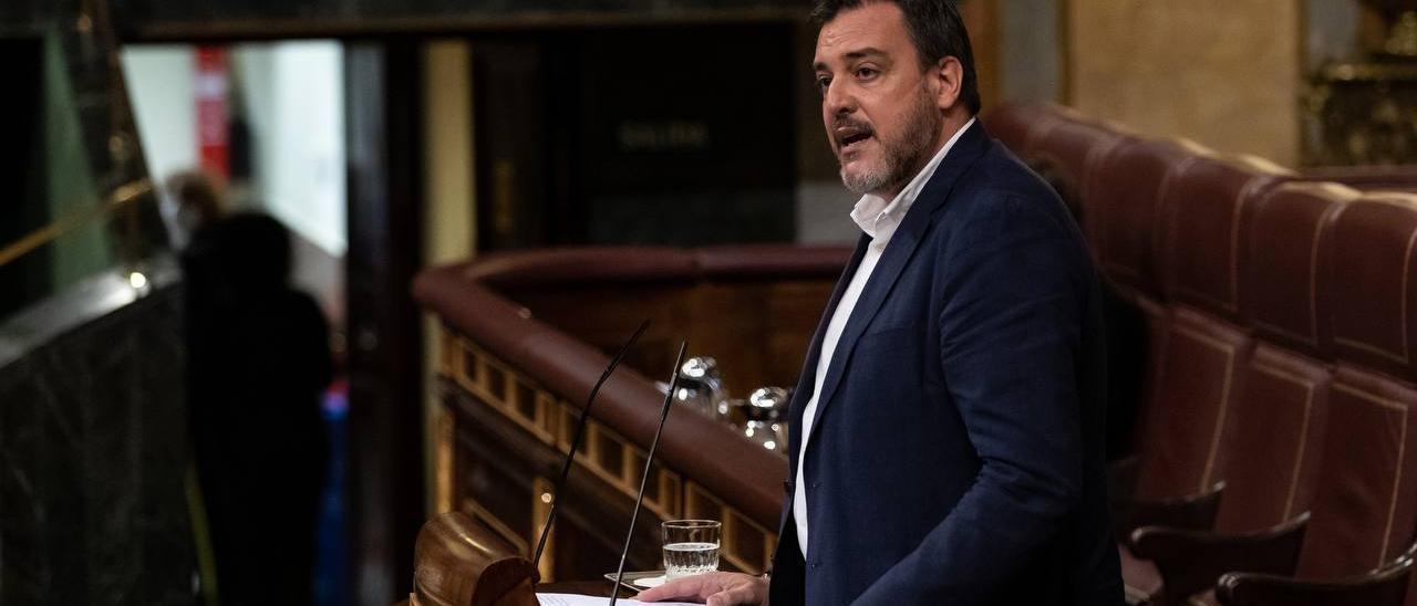 El diputado de Ciudadanos, López-Bas, durante su comparecencia en el Congreso de los Diputados.