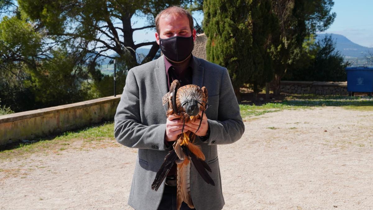 El conseller Miquel Mir con un de los milanos liberados.