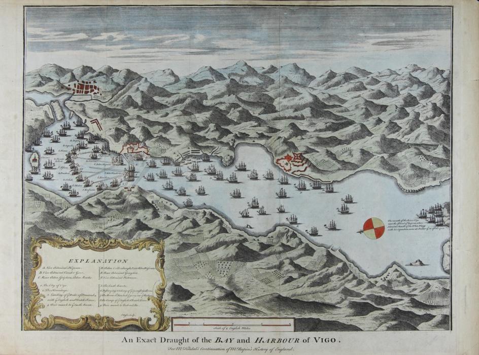 An exact draught of the bay and harbour of Vigo, de N. Tindal (después de 1745)