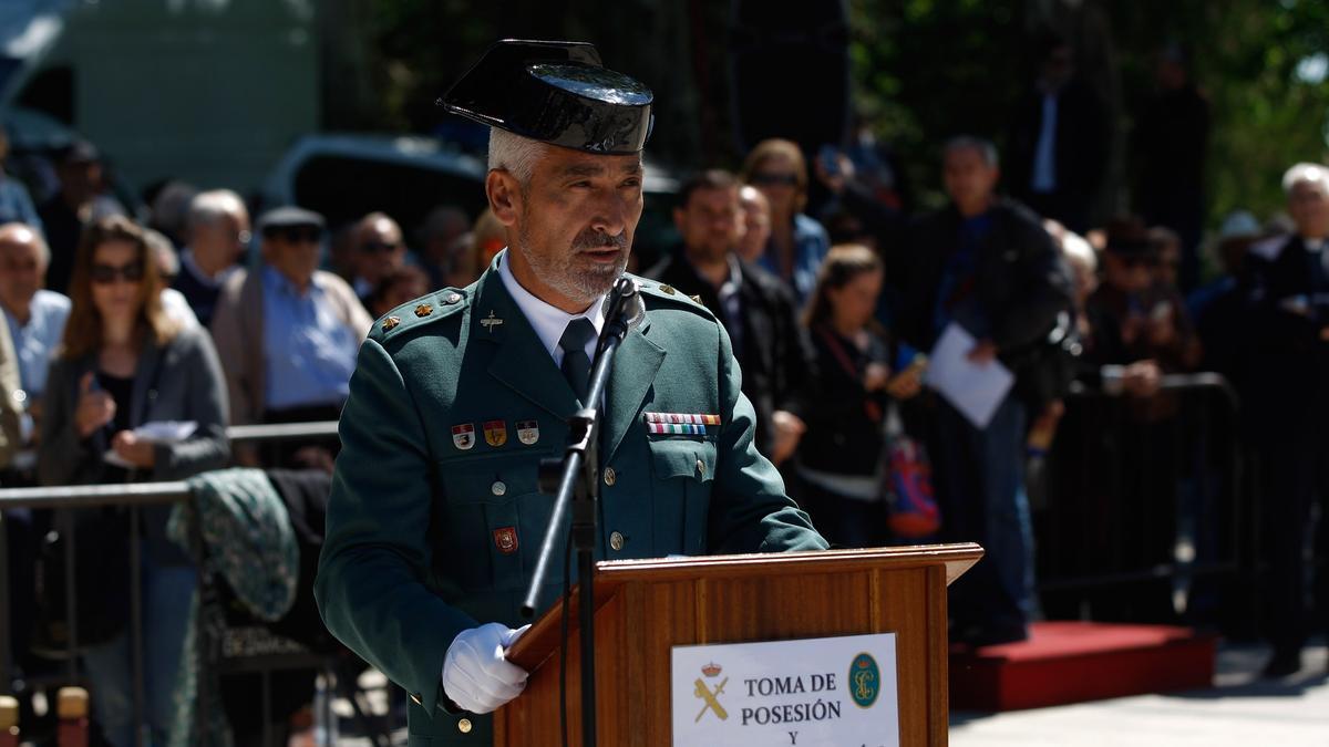 El coronel Rodríguez Zabala durante un discurso en la fiesta de la Guardia Civil