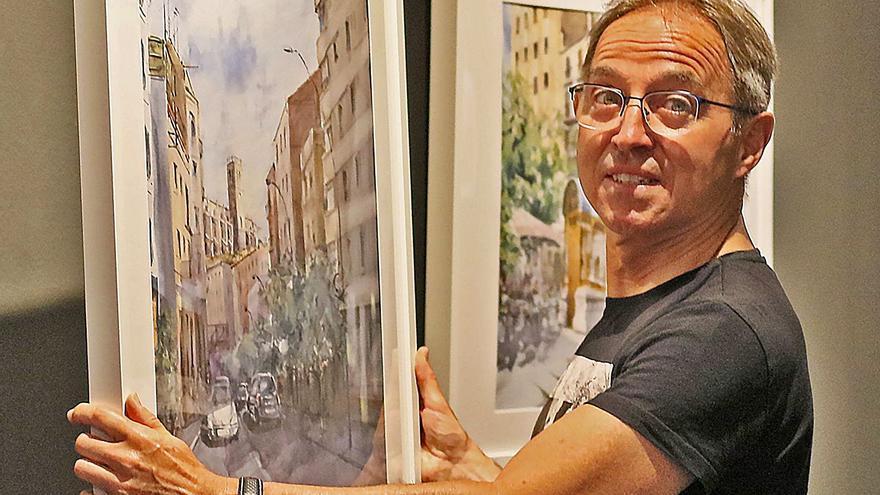 Els talleristes del Cercle Artístic de Manresa pinten els escenaris  de «Plácido»