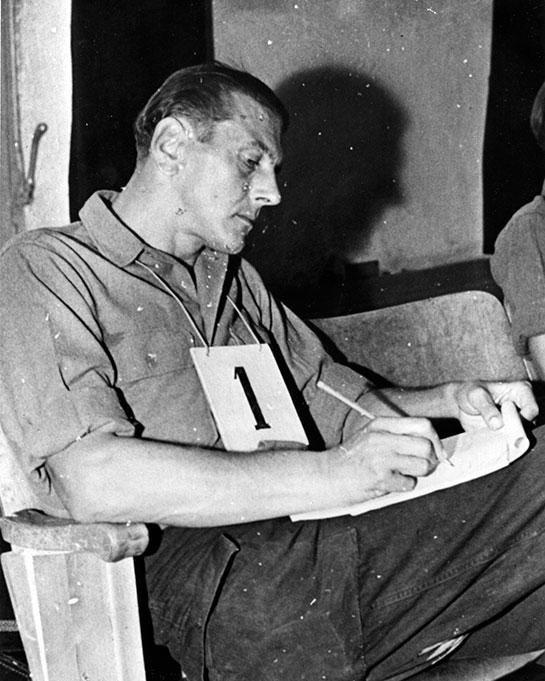 Skorzeny als Angeklagter bei den Dachauer Prozessen.
