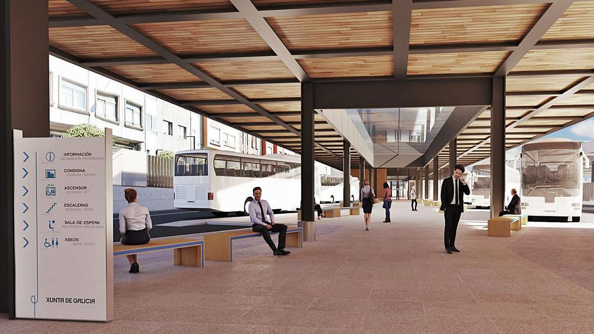 Imagen virtual del proyecto de la terminal de autobuses de la intermodal coruñesa.     // LA OPINIÓN