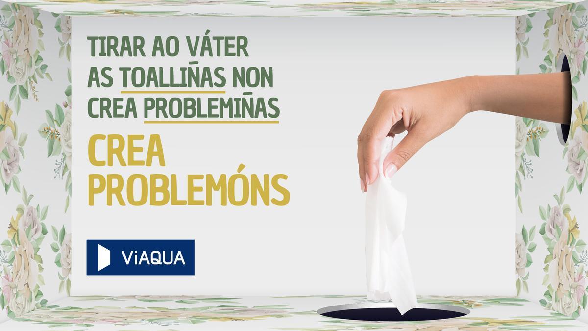 Viaqua lanza unha campaña de concienciación sobre os problemas que producen nas redes de saneamento produtos como máscaras,  bastonciños e toalliñas