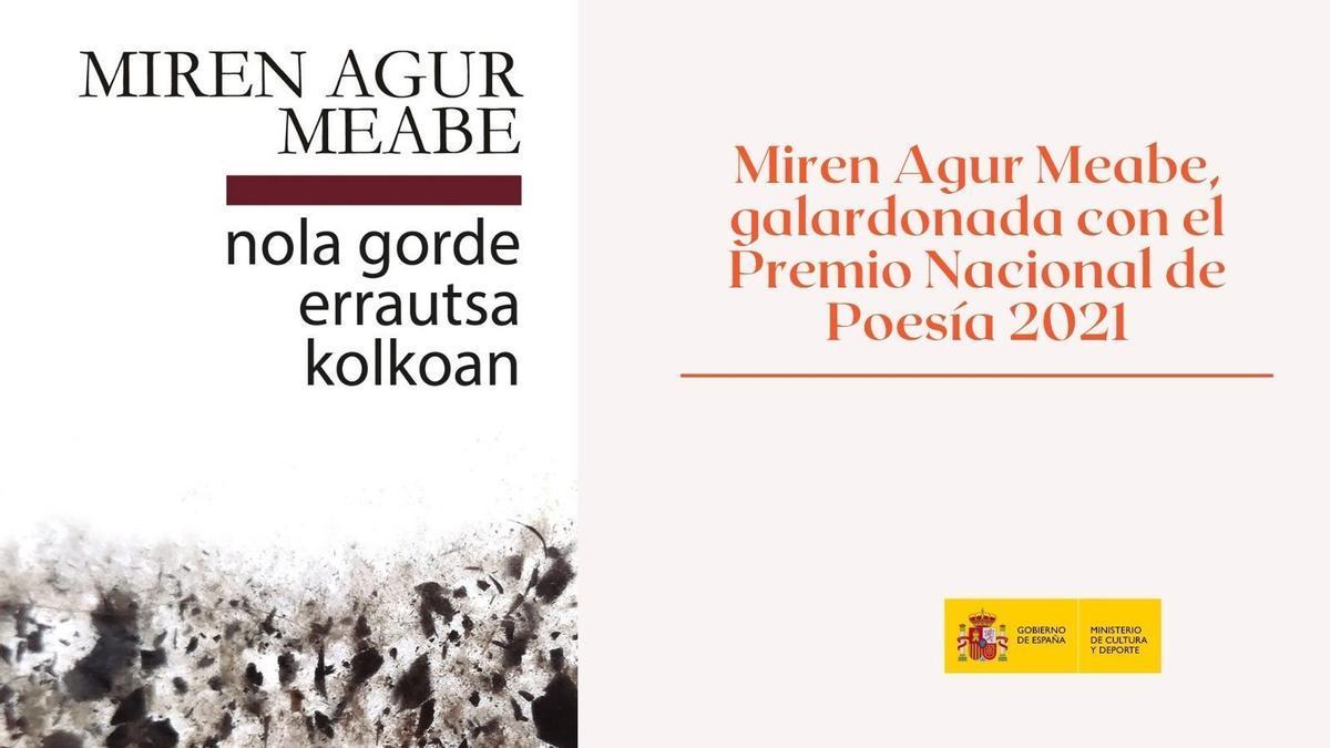 La poeta vasca Miren Agur Meabe, galardonada con el Premio Nacional de Poesía 2021.