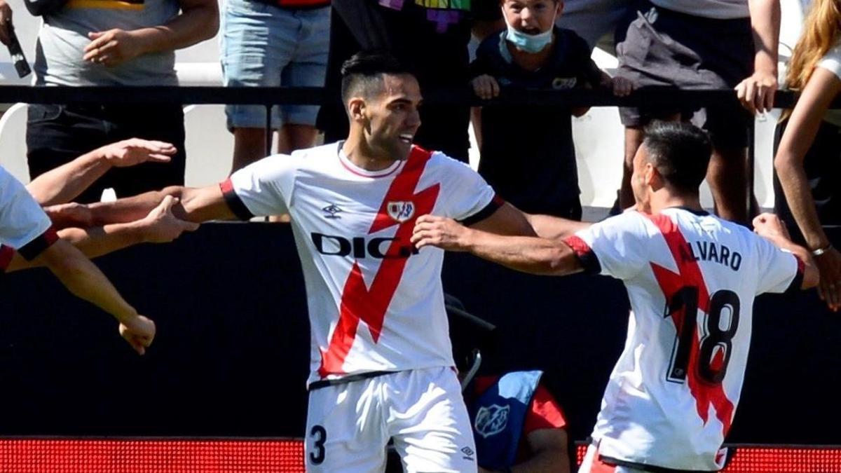 Falcao celebra su gol con el Rayo Vallecano.