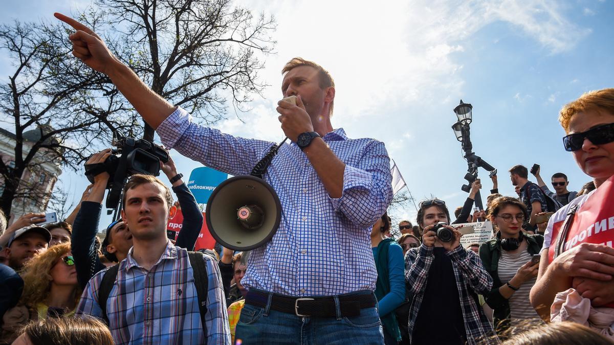 Alexei Navalni en una manifestación hace unos años