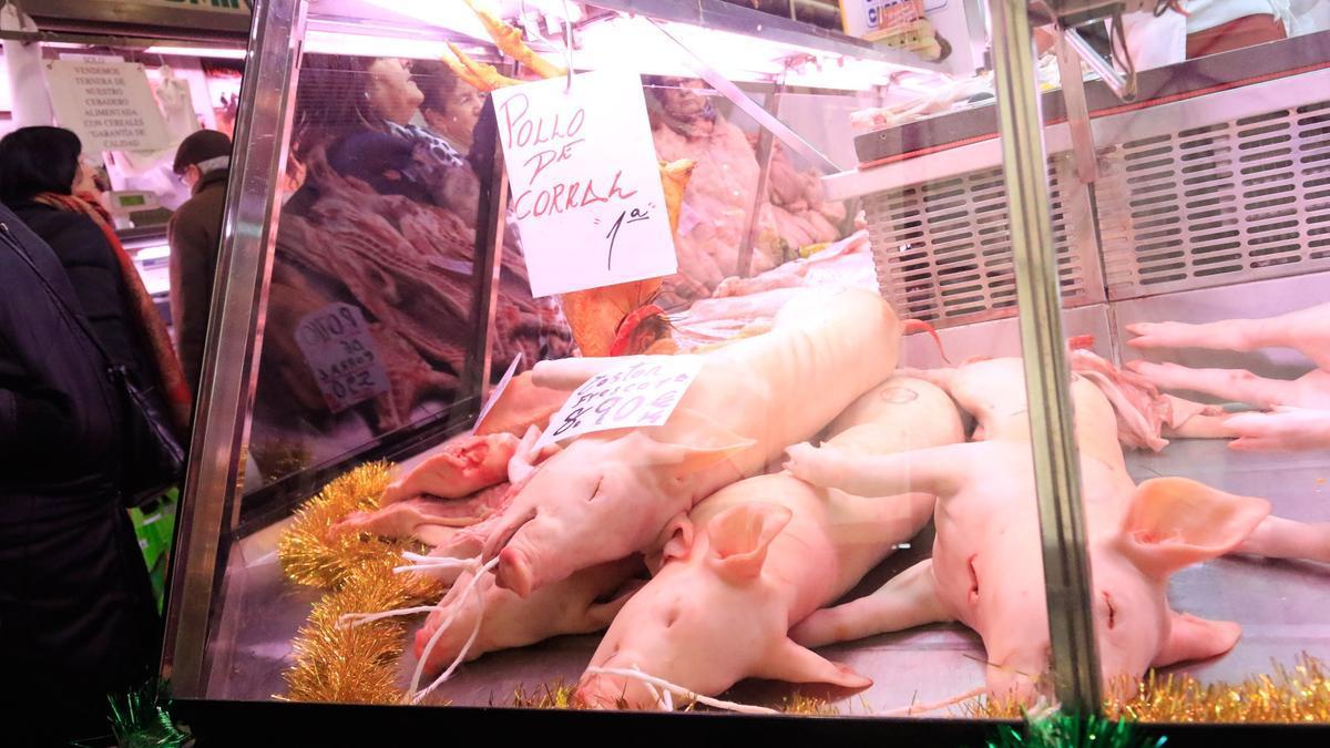 Un cochinillo, en el Mercado de Abastos de Zamora.