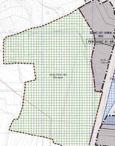 Delimitación de la zona verde y el área residencial colindante (en gris)