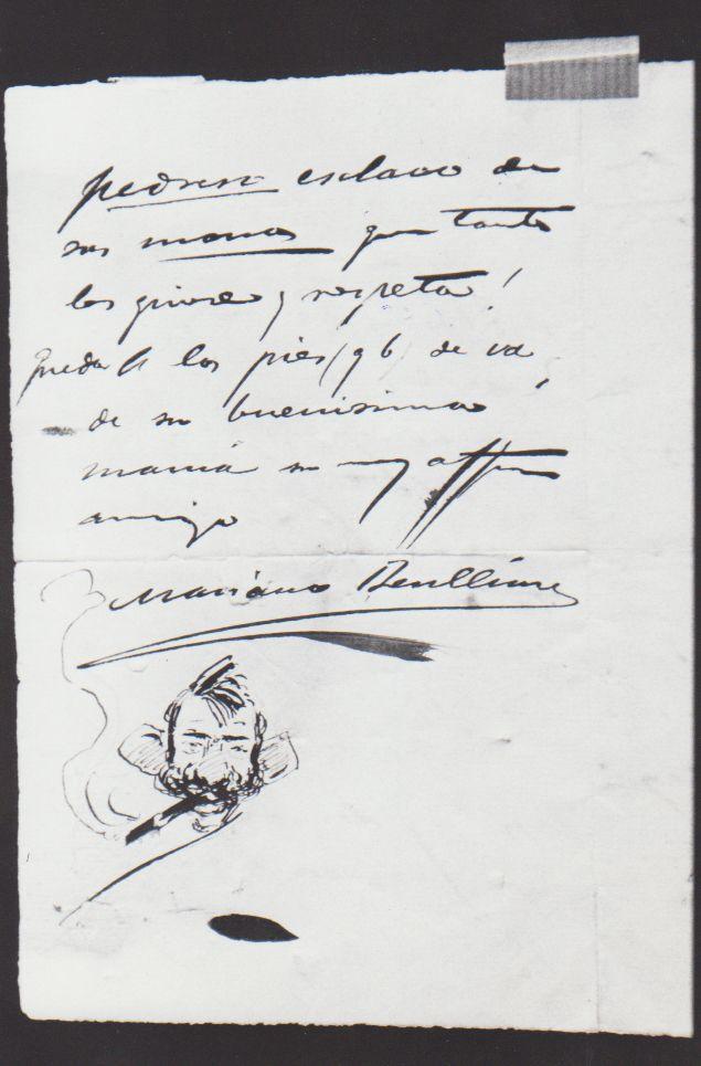 Carta de Benlliure dirigida a la mujer de Blasco Ibáñez.