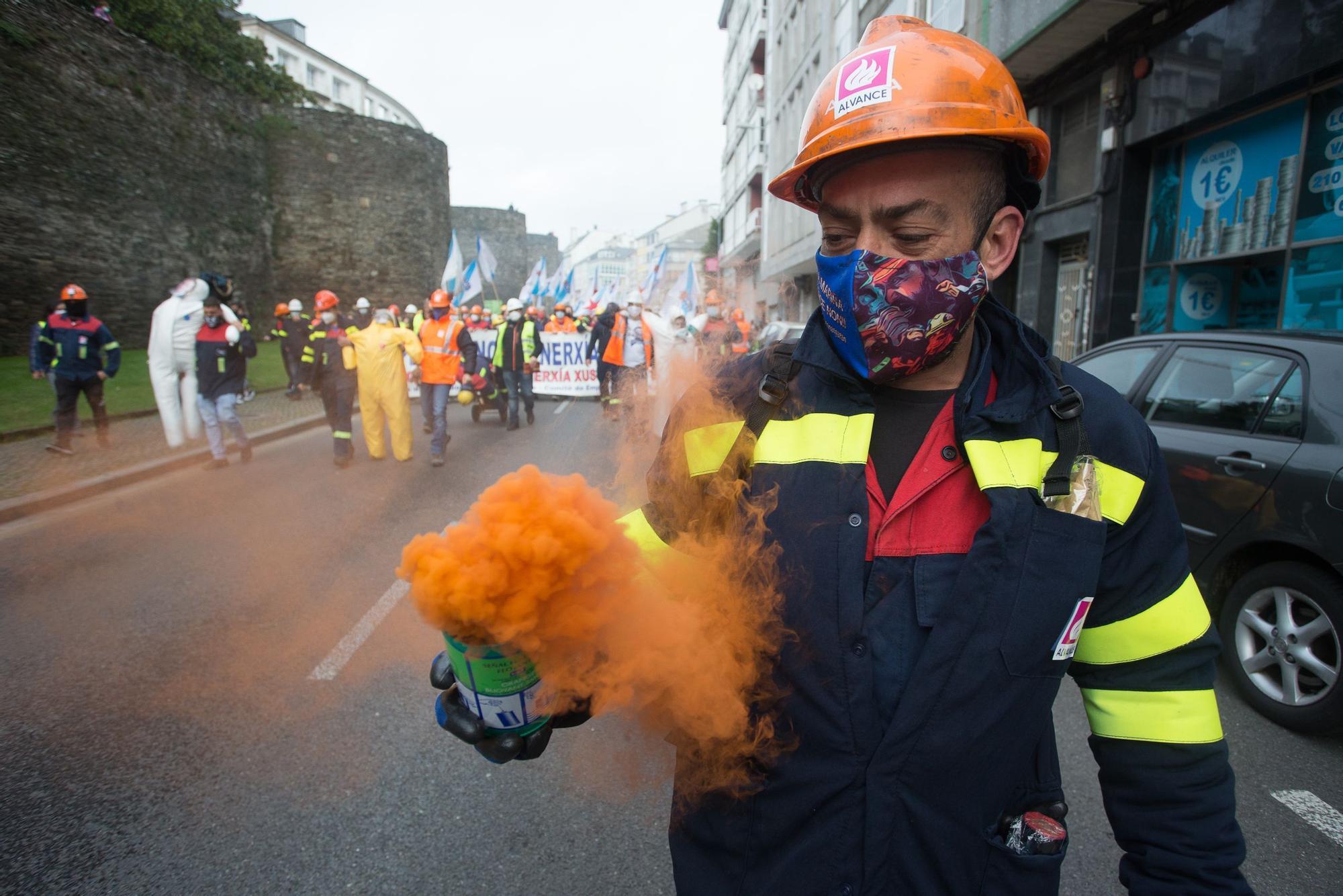 Multitudinaria protesta de los trabajadores de Alcoa en Lugo