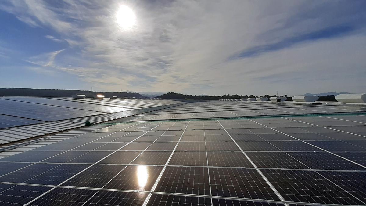 La coberta de plaques fotovoltaiques a l'empresa de Sallent