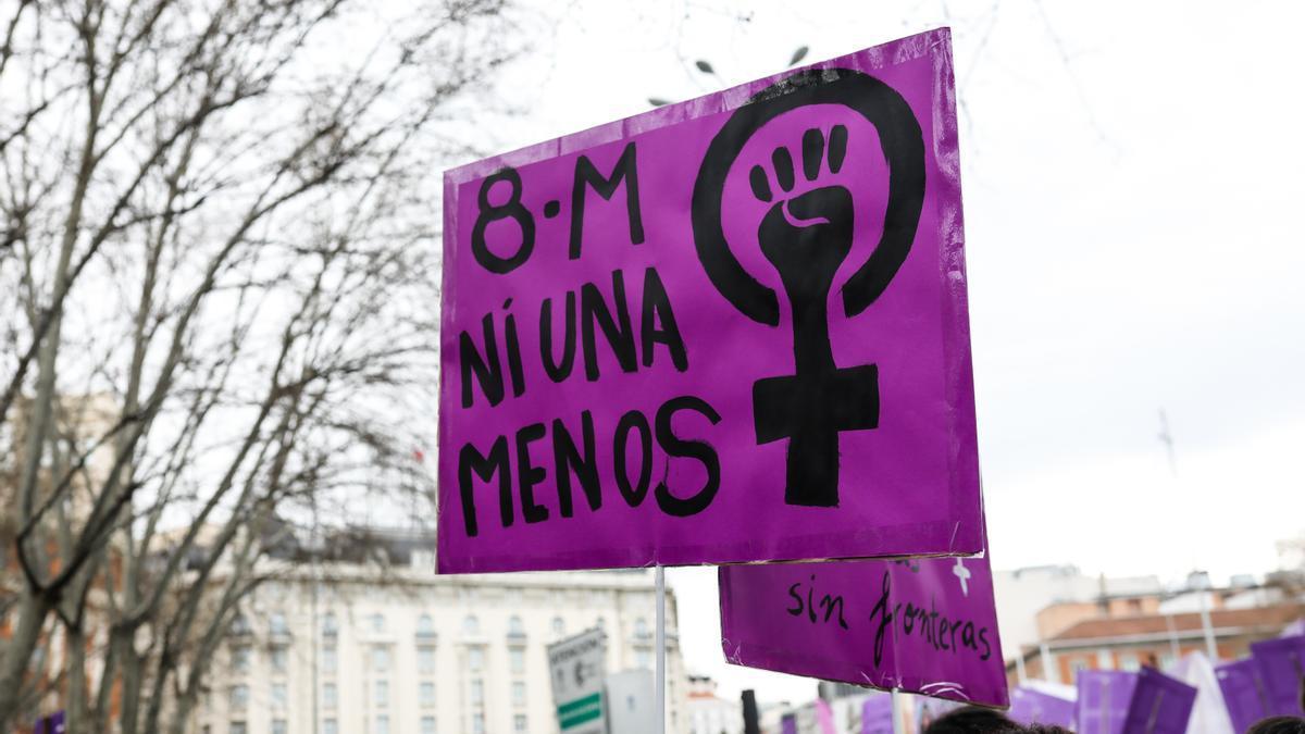 Un cartel de la manifestación del pasado 8M.
