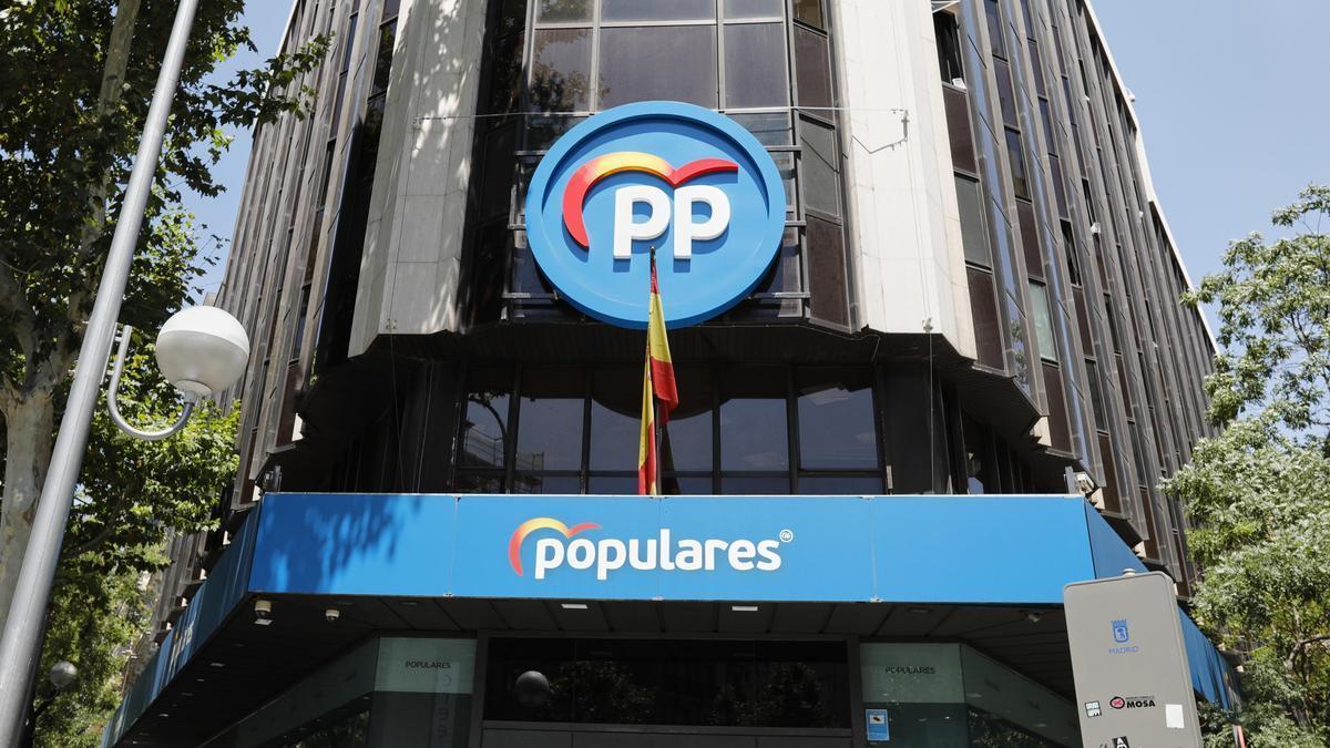 Una imagen de archivo de la sede del PP en Madrid.