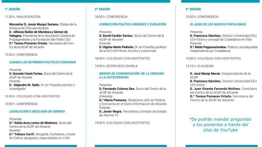 Asociación Católica de Propagandistas (ACdP) celebra este mes la XI edición de sus jornadas Católicos y Vida Pública de Alicante