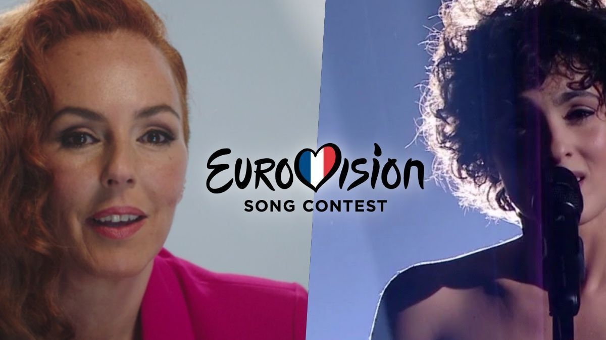 Rocío Carrasco and Barbara Pravi performing 'Voilà' in 'Eurovision France: C'est vous qui décidez'.