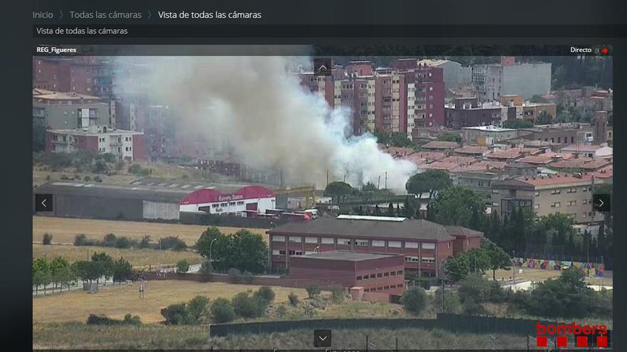 Incendi de matolls a la zona oest de Figueres
