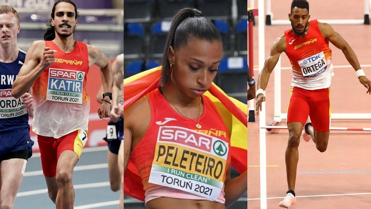 Mo Katir, Ana Peleteiro y Orlando Ortega.