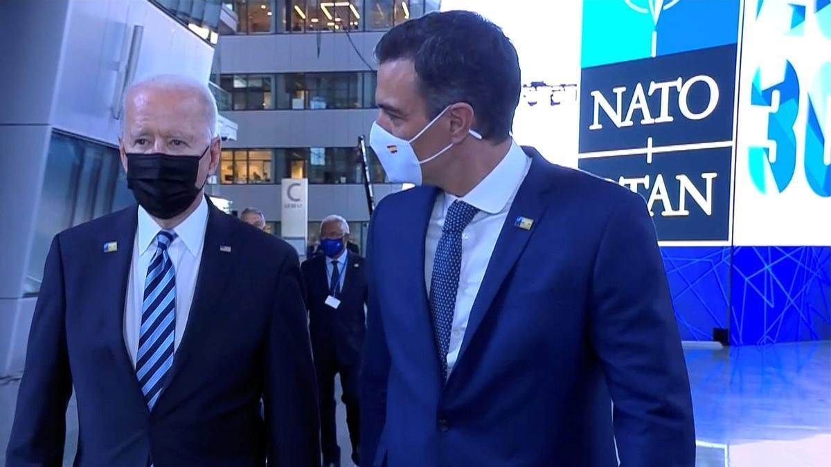 El presidente del Gobierno, Pedro Sánchez, y el presidente de Estados Unidos, Joe Biden.
