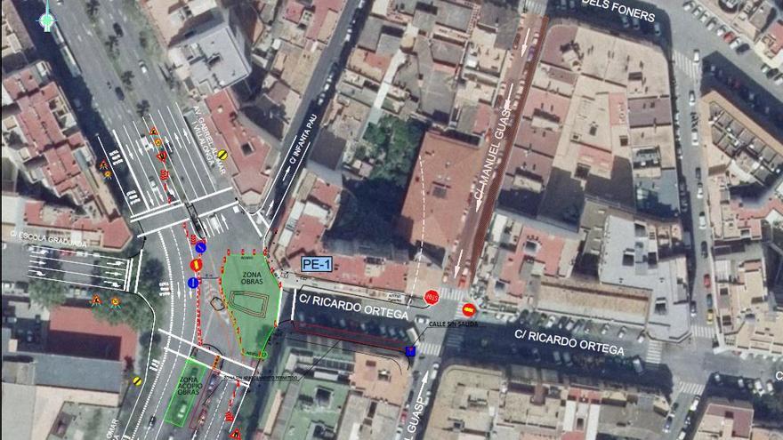 Cort desvía dos carriles de las avenidas de Palma por las obras del colector de aguas