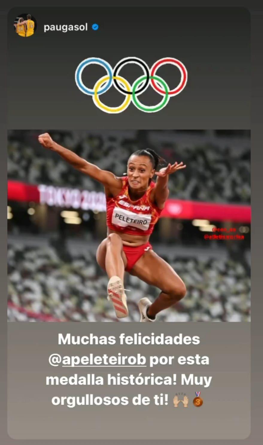 Pau Gasol, acostumbrado al triunfo, también la felicitó.