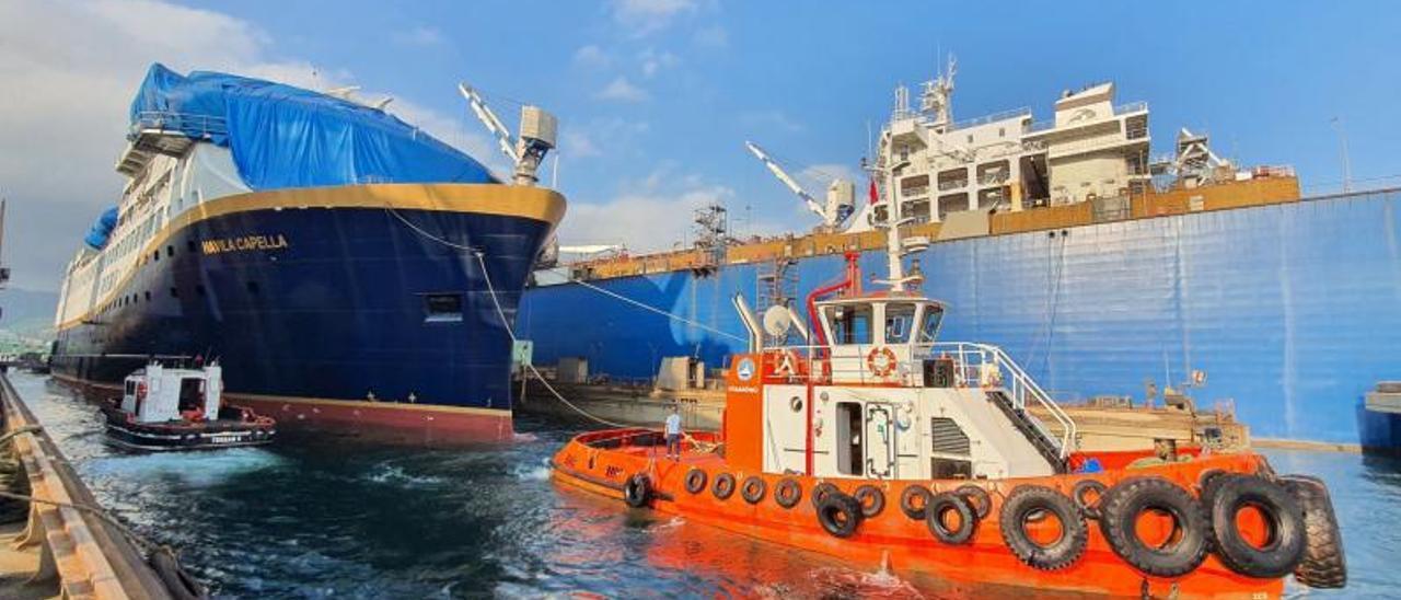 """Uno de los dos cruceros construido en Turquía, el """"Havila Capella"""", en su botadura hace un mes."""