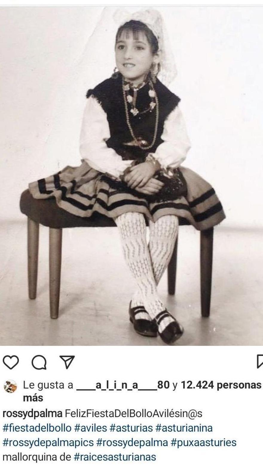 Rossy de Palma, en su Instagram, en una imagen de su infancia vestida de asturiana