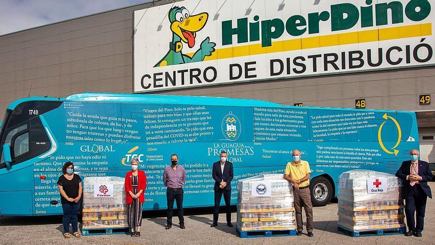 Guaguas Global dona 2,6 toneladas de alimentos a tres entidades benéficas