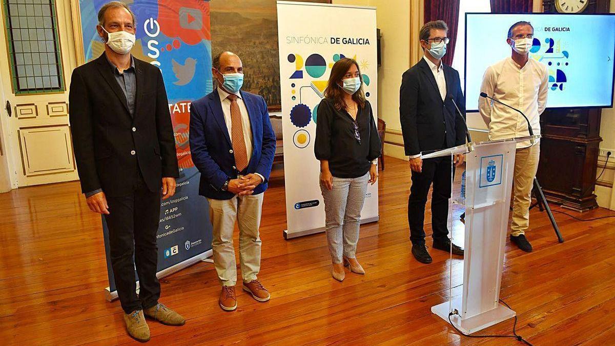 Dima Slobodeniouk, Chero Celemín, Inés Rey, Andrés Lacasa y Javier Rodríguez, ayer.