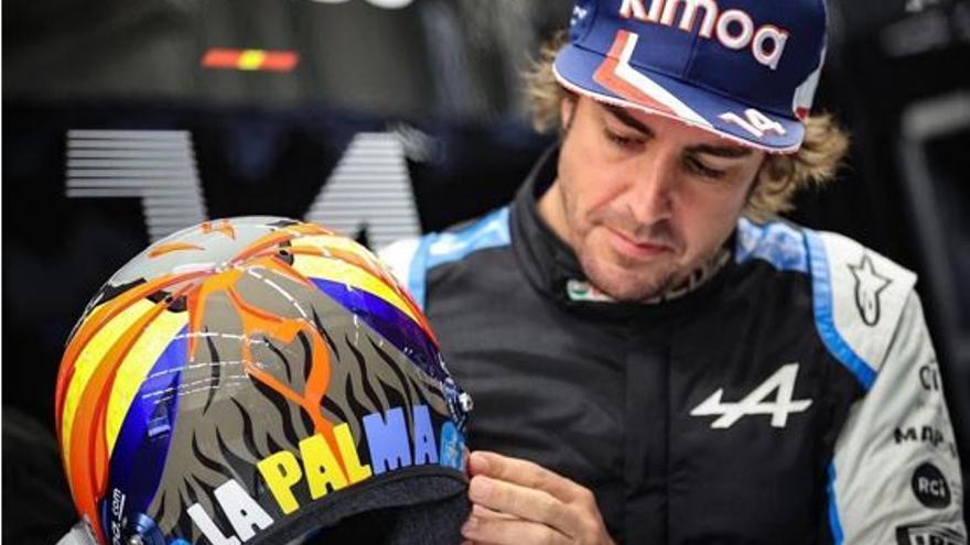 Fernando Alonso llevará un casco especial en homenaje a La Palma